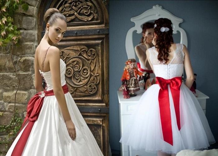 6b5699174b72 Obzvlášť dobrý červený opasok s bielymi svadobnými šatami sa pozerá na svadobné  šaty s blondínkami a brunetkami. Červená farba im poskytne viac farieb.